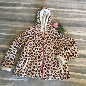 Landsend Fleece Swing Coat With Hoodie